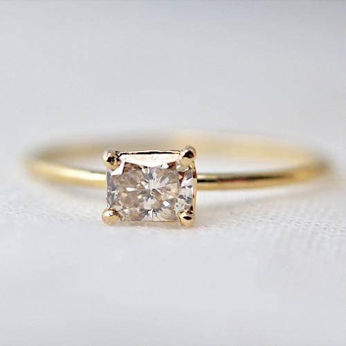 【K18】 0.276ct ラディアンカット ブラウンダイヤモンド リング*jilimili*オリジナルハンドメイド アクセサリー・ジュエリーショップ                                                                                【K18】 0.276ct ラディアンカット ブラウンダイヤモンド リング