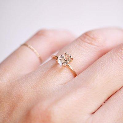画像2: *TSUBOMI*ダイヤモンドクォーツ原石の蕾リング(42)