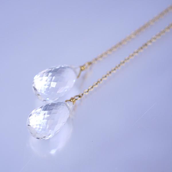 画像1: ブリオレットカット水晶 アメリカンピアス (1)