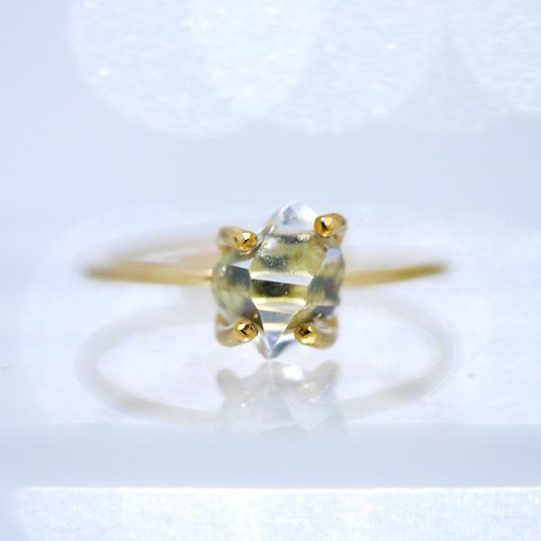 画像1: *TSUBOMI* ダイヤモンドクォーツ原石の蕾リング(86) (1)