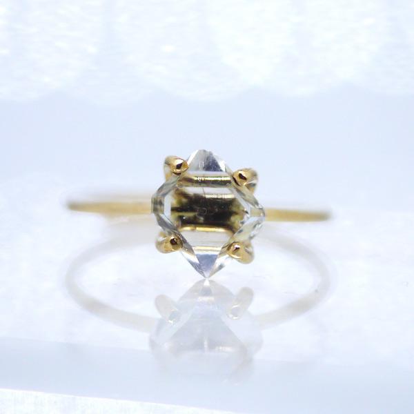 画像1: *TSUBOMI* ダイヤモンドクォーツ原石の蕾リング(87) (1)