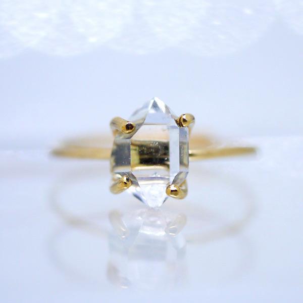 画像1: *TSUBOMI* ダイヤモンドクォーツ原石の蕾リング(88) (1)