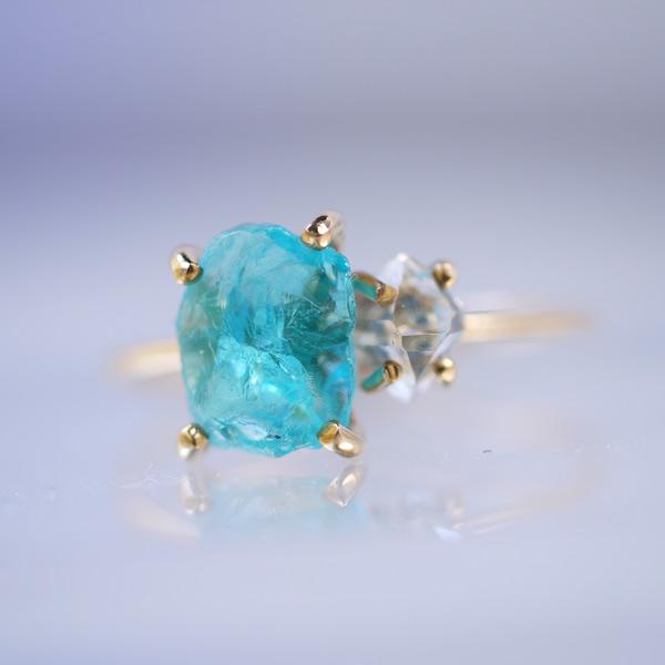 画像1: *Cruithne* ブルーアパタイト・ダイヤモンドクォーツ原石リング (1)